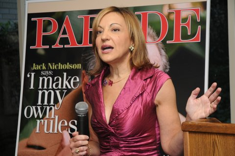 Speaking about novels and magazines at an event in New York City